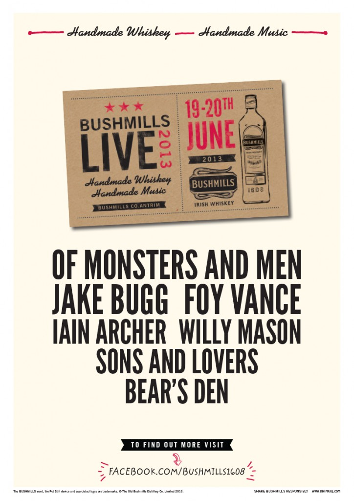 Bushmills live line-up for 2013